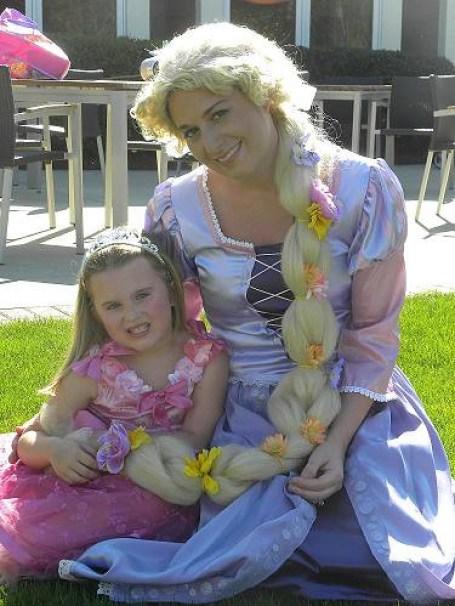 rapunzel visits girls 7th birthday party