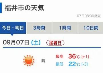 2019年9月7日の福井市の気温