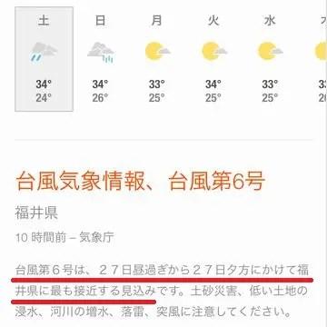 今日の福井の気象情報