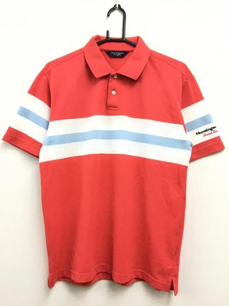 マンシングウェア 半袖ポロシャツ レッド×白×ライトブルー