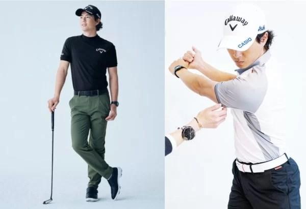 キャロウェイアパレルのツアープロエディションのゴルフウェアを着た石川遼プロ