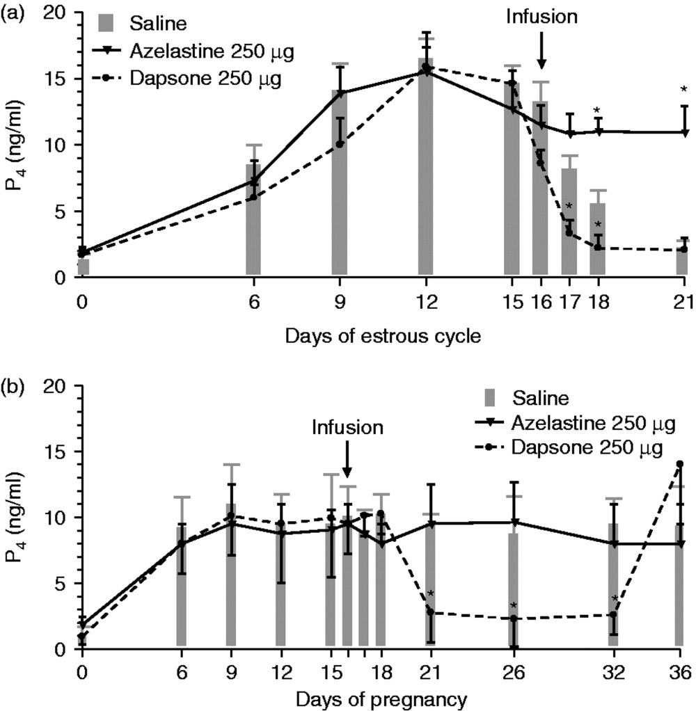 medium resolution of progesterone levels in peripheral blood plasma of cows during a the estrous cycle and b early pregnancy after infusion of saline gray bars