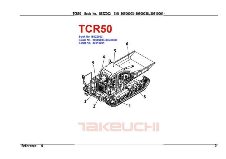 Takeuchi TCR50 Crawler Dumper Parts Catalog