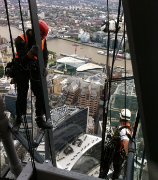 rope access curtain wall glazing