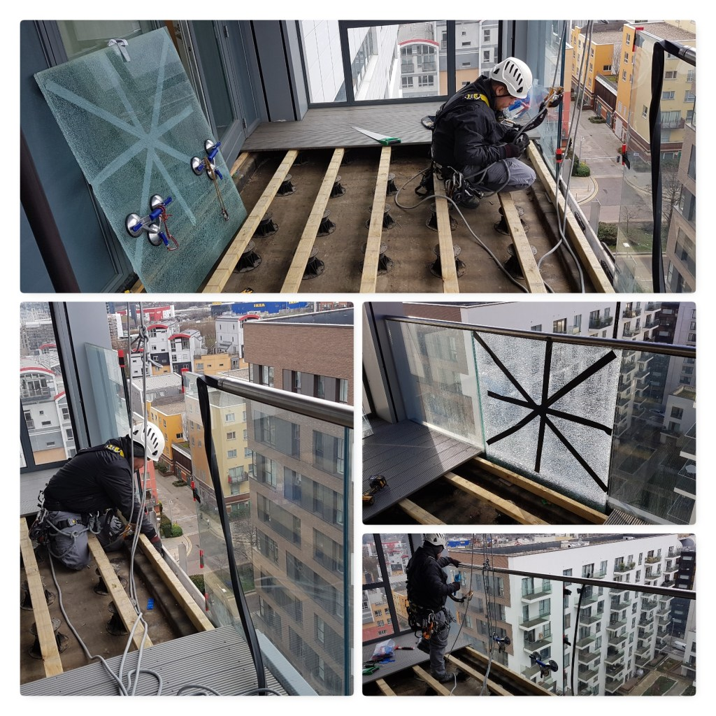 abseiling glazing repairs