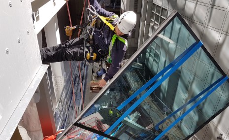 rope access glazing glass replacement