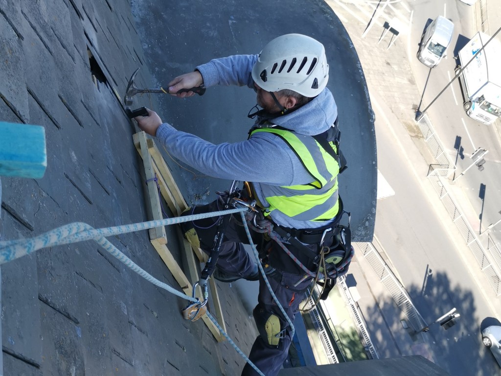 rope access slated roof repair
