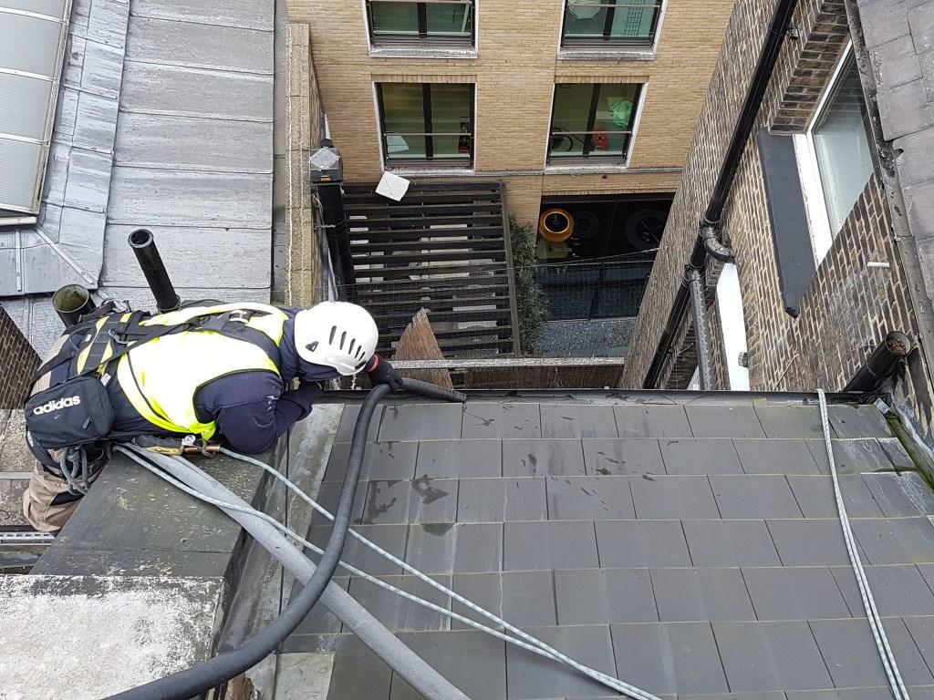 high level gutter hoovering