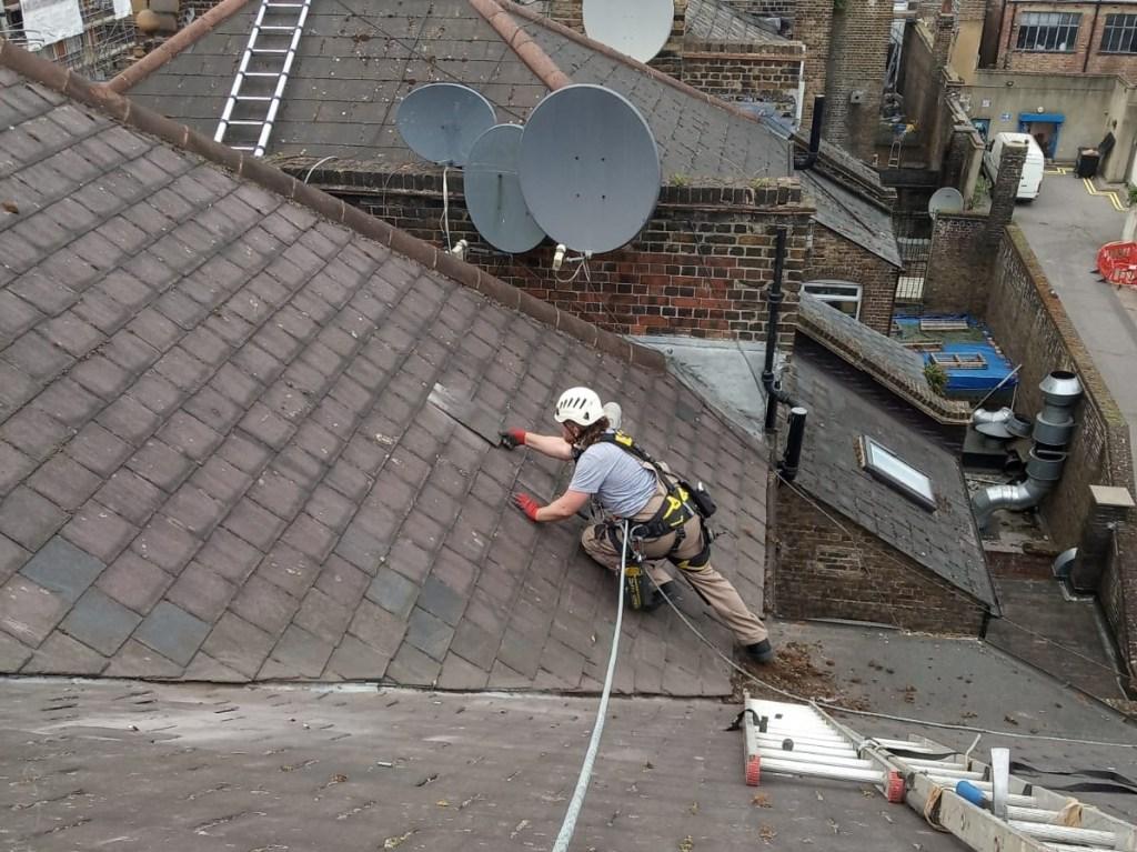 high level slate roof repair
