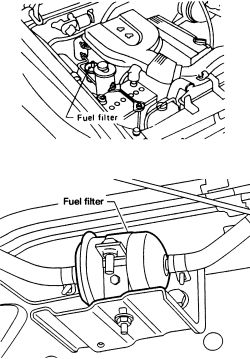 Where is the fuel filter for a Nissan Xterra 2003 located