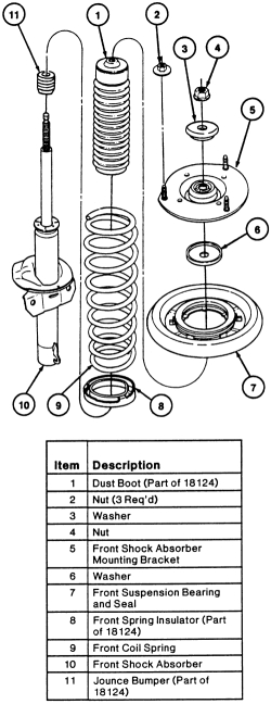 Diagram of a strut assembly for a 2001 mercury sable