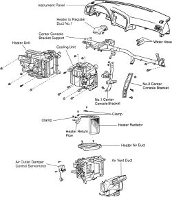 schematics and diagrams: Toyota Car models Heater core
