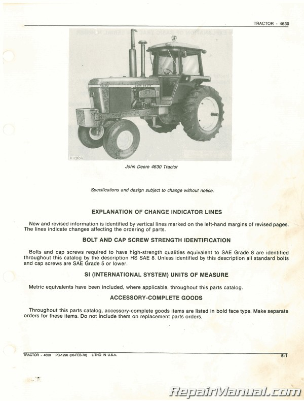 John Deere Tractor Parts Used : deere, tractor, parts, Deere, Tractor, Parts, Manual