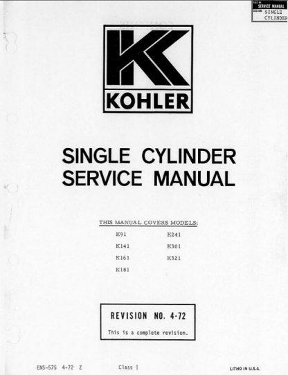 Kohler k321 Repair Service Manual