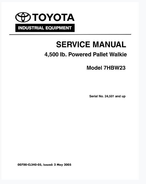 Toyota 7HBW23 Pallet Truck Service Manual : RepairManualus