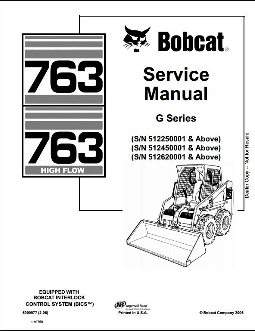 Bobcat 763 High Flow G Series Service Manual : RepairManualus