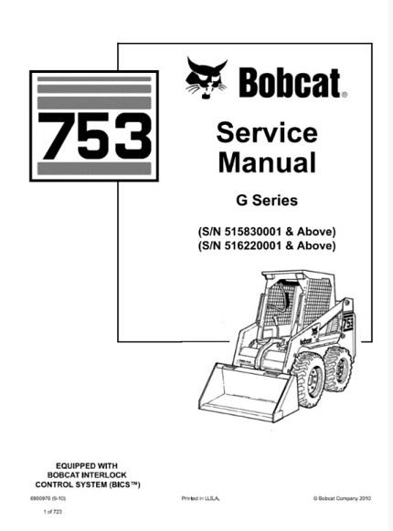 Bobcat 753 Skid Steer Loader (G Series) Service Repair