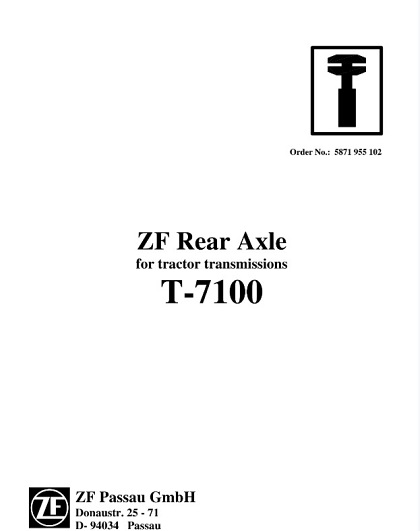 ZF Rear Axle Tractor Transmissions T-7100 Service Repair