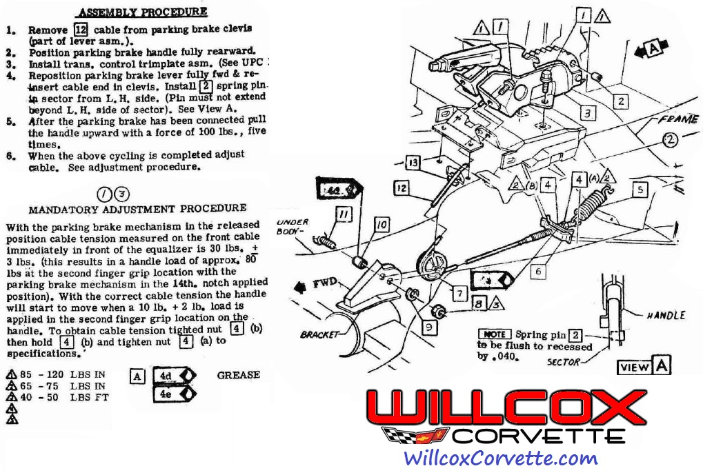 1967-1982 Corvette Parking Brake Adjustment Procedure