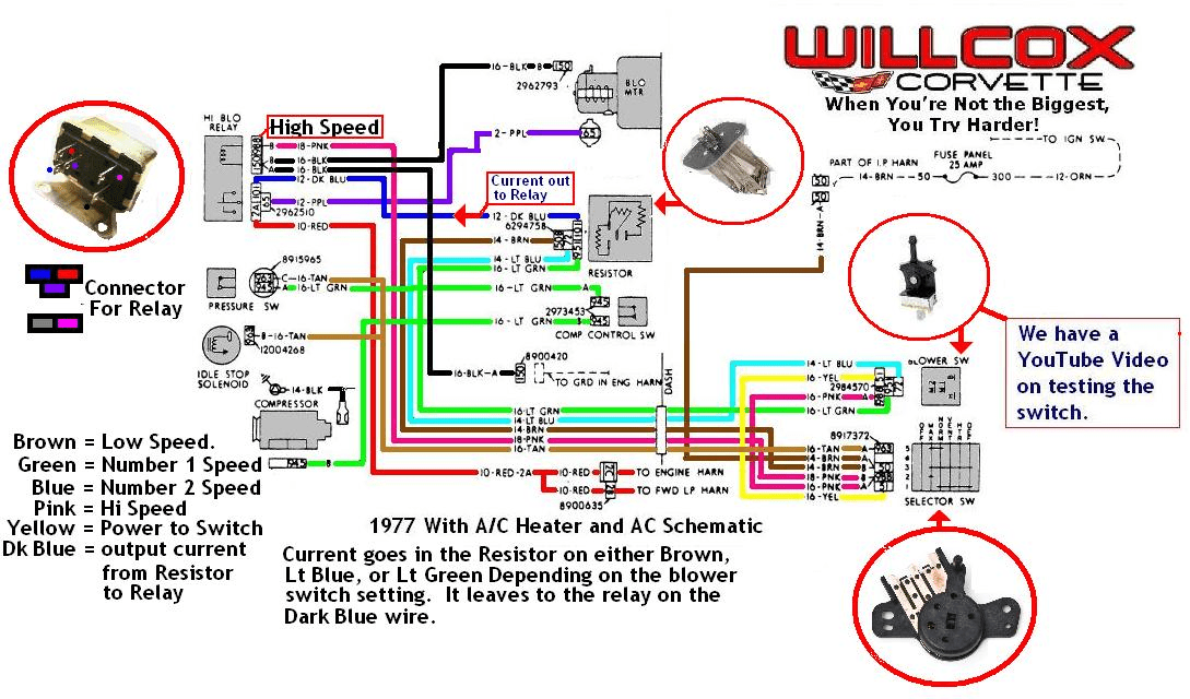 1980 corvette wiring diagram telephone extension cable 1977 heater and ac schematic   willcox corvette, inc.