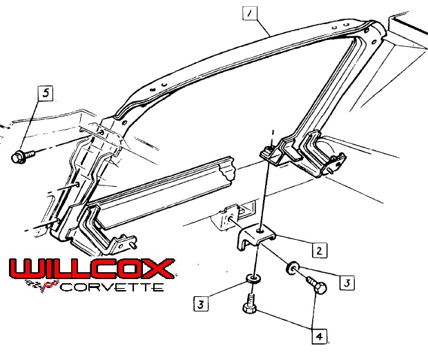 1973-1976 Corvette Radiator Support Illustration 73-76e
