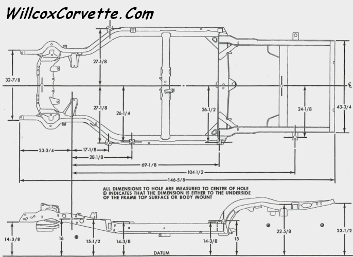 Corvette Frame Dimension Charts 1963 and 1968-1982