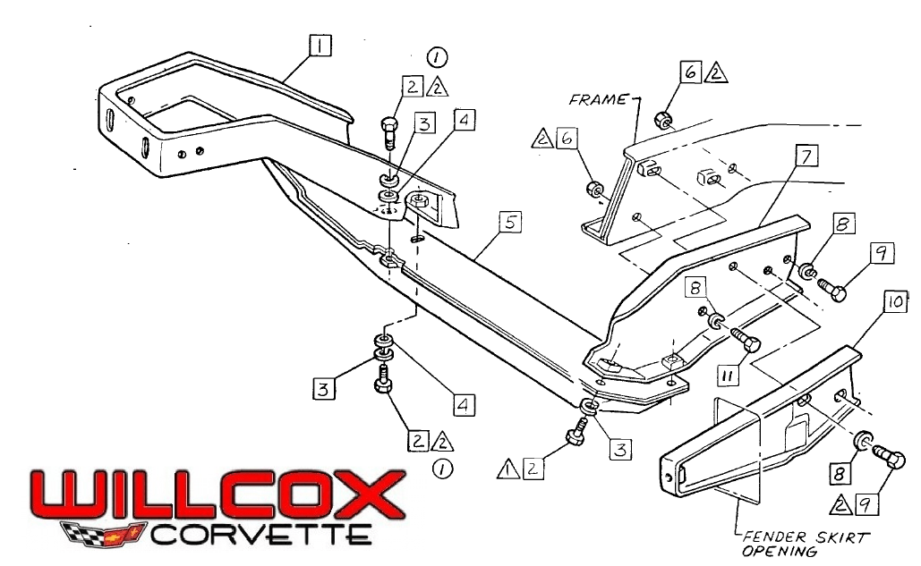 1968-1972 Corvette Front Bumper Braces Exploded View