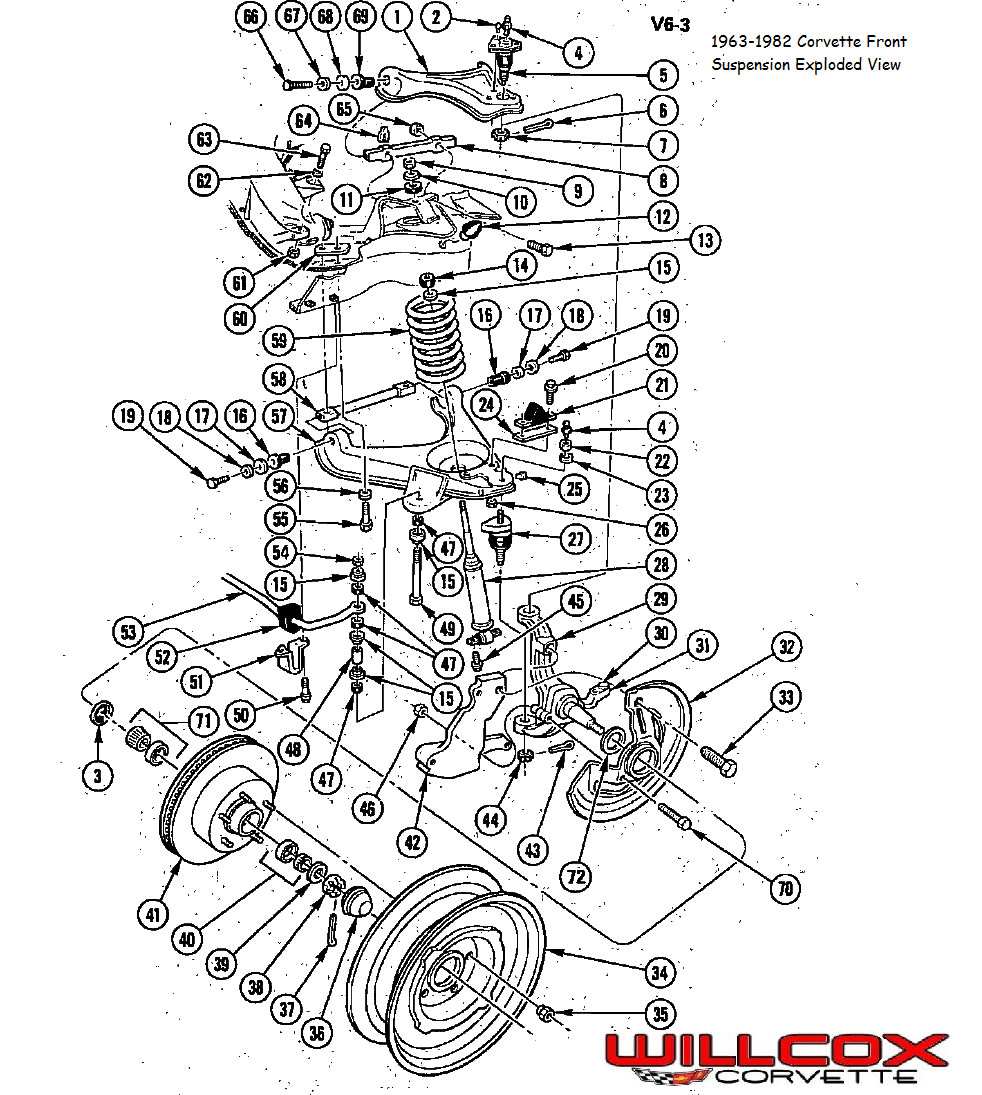 1963-1982 Corvette Front Suspension Exploded View
