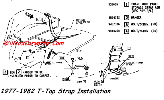 T-top Strap Loop and Spacers and Screws 1968-1982