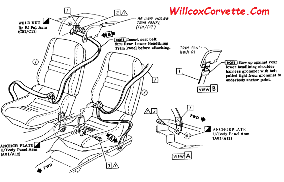 1978-1982 Corvette Seat Belt Mounting Illustration