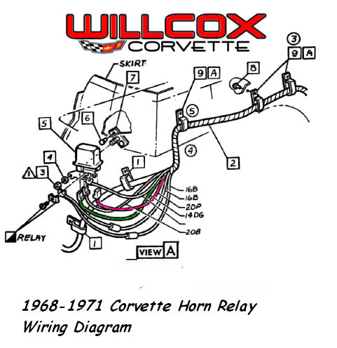 model a horn wiring diagram 2003 cadillac cts engine 1968 1971 corvette relay willcox inc