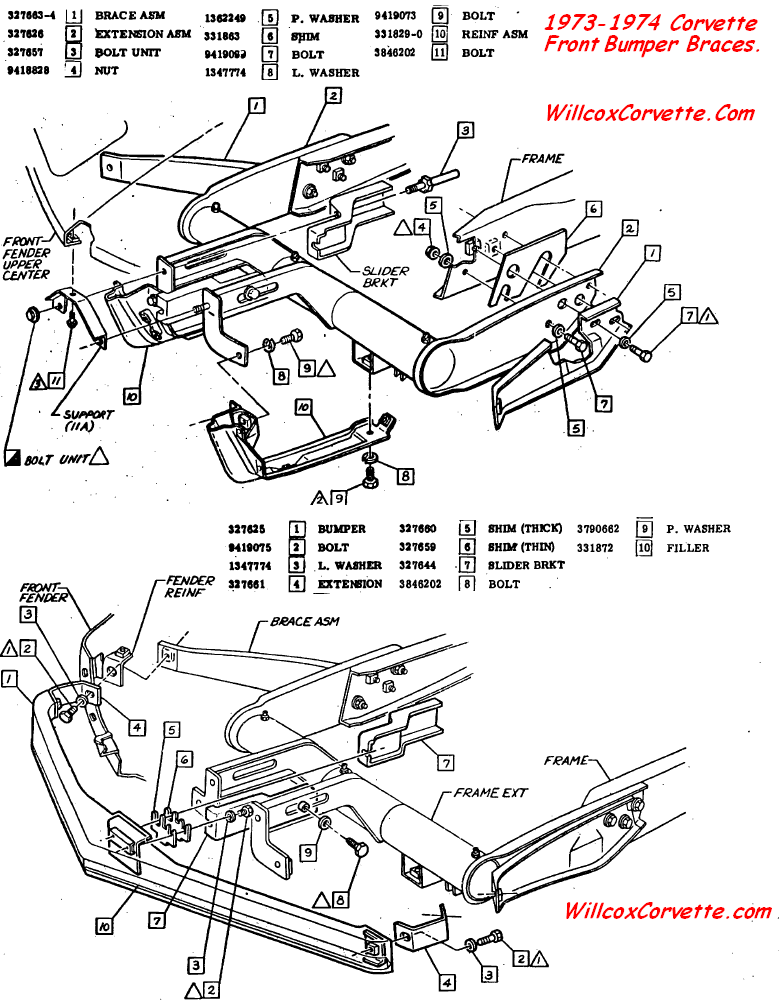 1977 Corvette Front Frame Extension Diagrams. Corvette