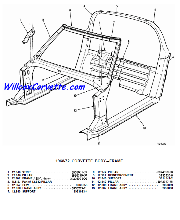1968-1982 Windshield Frame Birdcage Exploded View