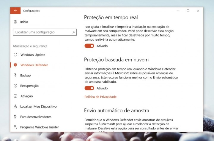 Windows Defender protecção