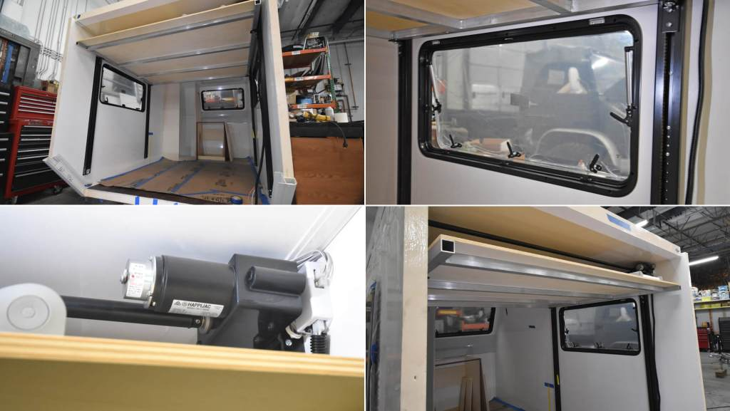 detail views of the Unimog bed lift system by HappiJac in the composite box