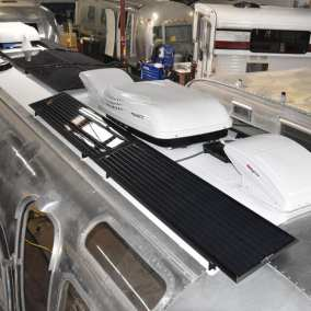 Zamp Obsidian solar panels intalled on Airstream by Reparadise