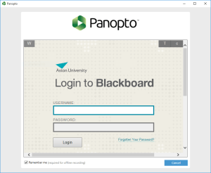 Panopto 5 - Login via Blackboard