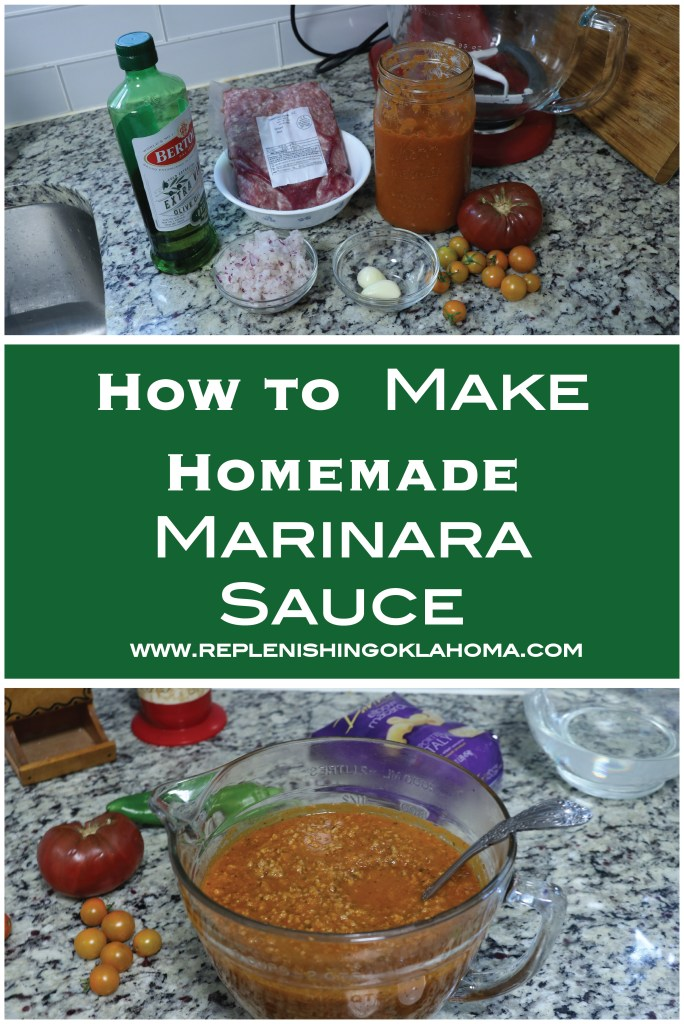Marinara Sauce from scratch is a great way to incorporate fresh tomatoes in meals. It's easy because you can make tons at one time then freeze or refrigerate for later.