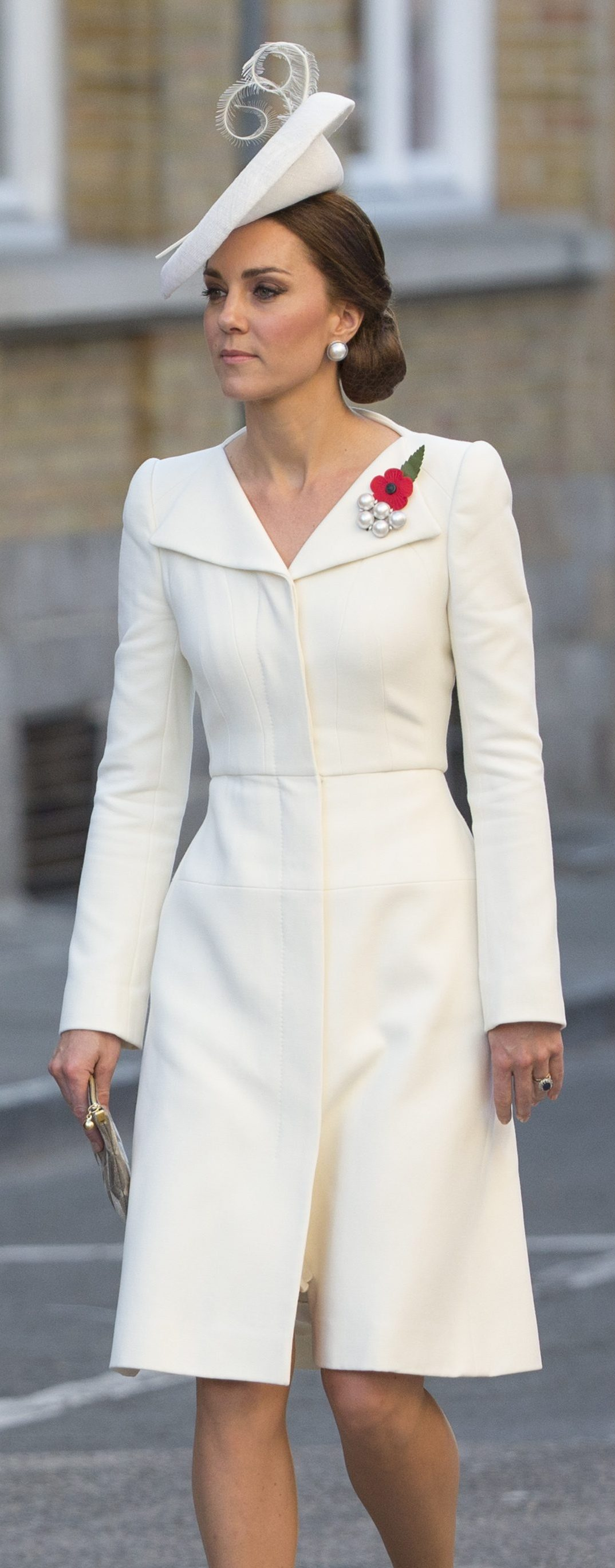 The Duchess of Cambridge at the Menin Gate to mark the centenary of Passchendaele; she wears Alexander McQueen MoD)