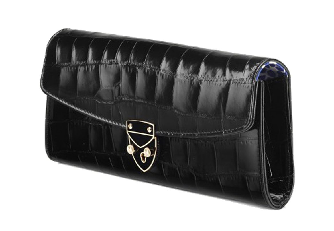 Aspinal x Beulah black crocodile leather clutch