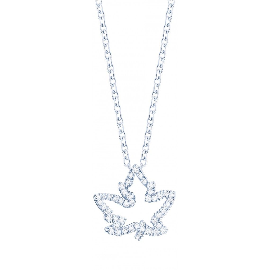 Birks Les Plaisirs de Birks Maple Leaf Pendant with Pavé Diamonds