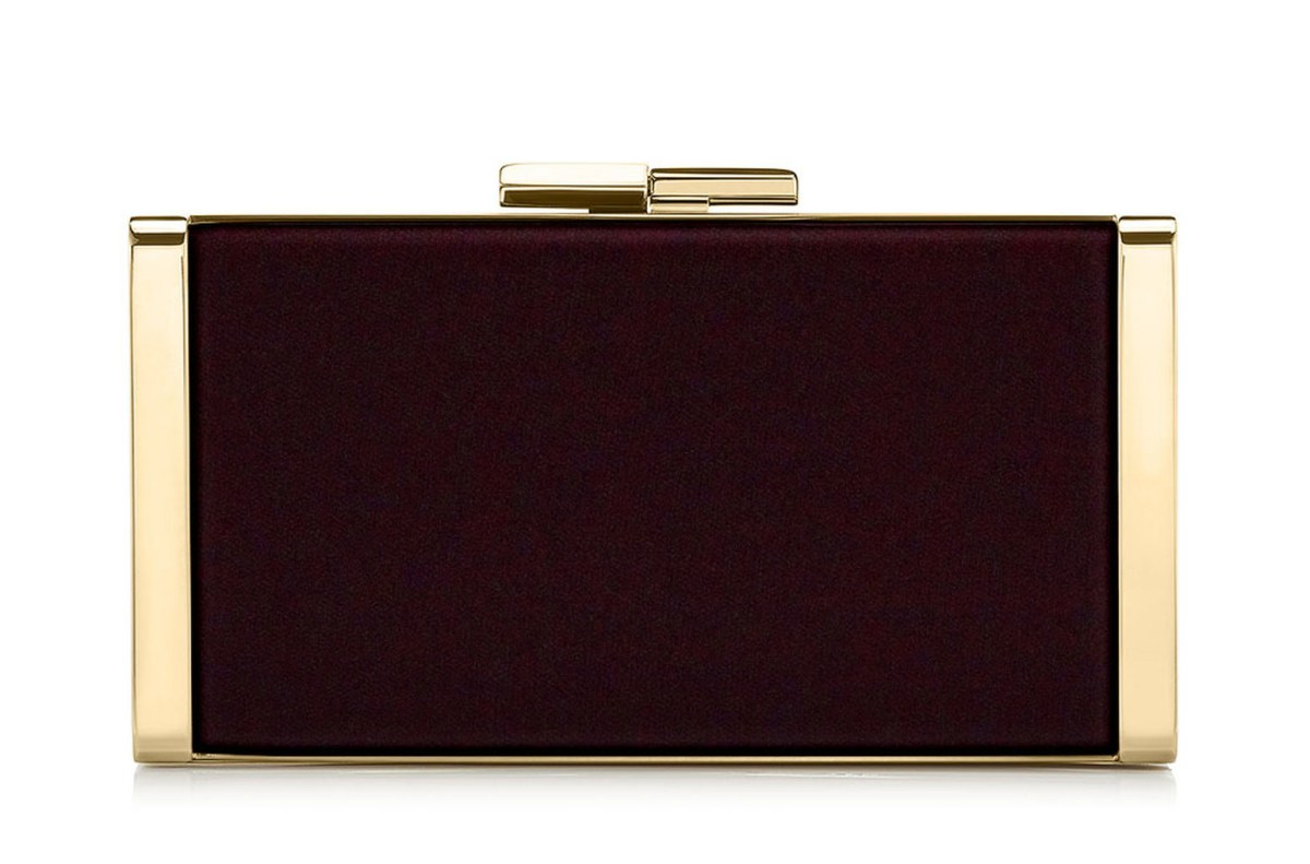 Jimmy Choo 'J Box' burgundy velvet clutch