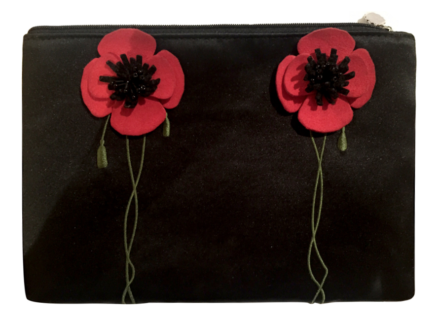 Lulu Guinness Poppy black satin embroidered clutch