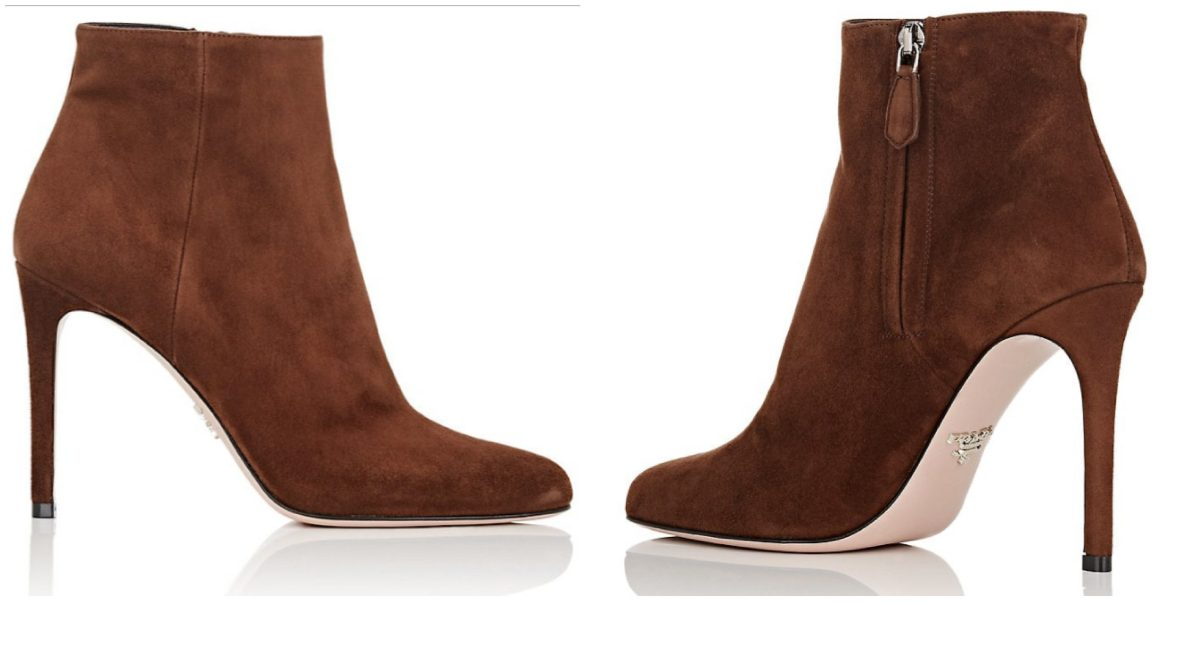brown prada suede ankle boot