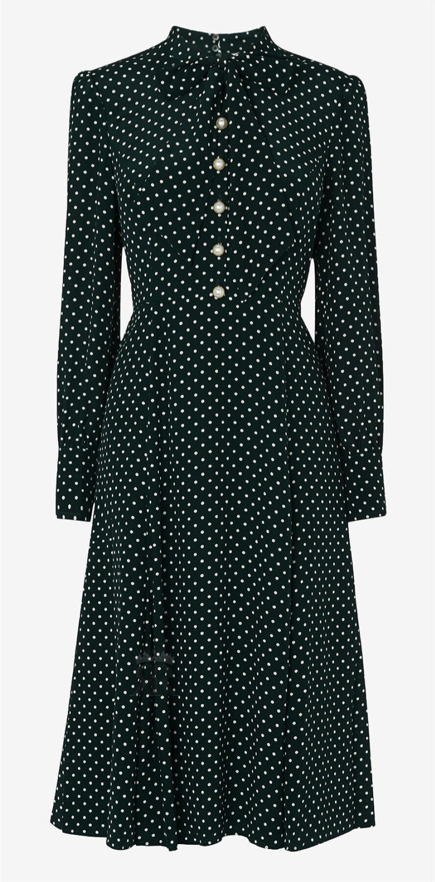 LK Bennett Mortimer Green Polka Dot Silk Dress