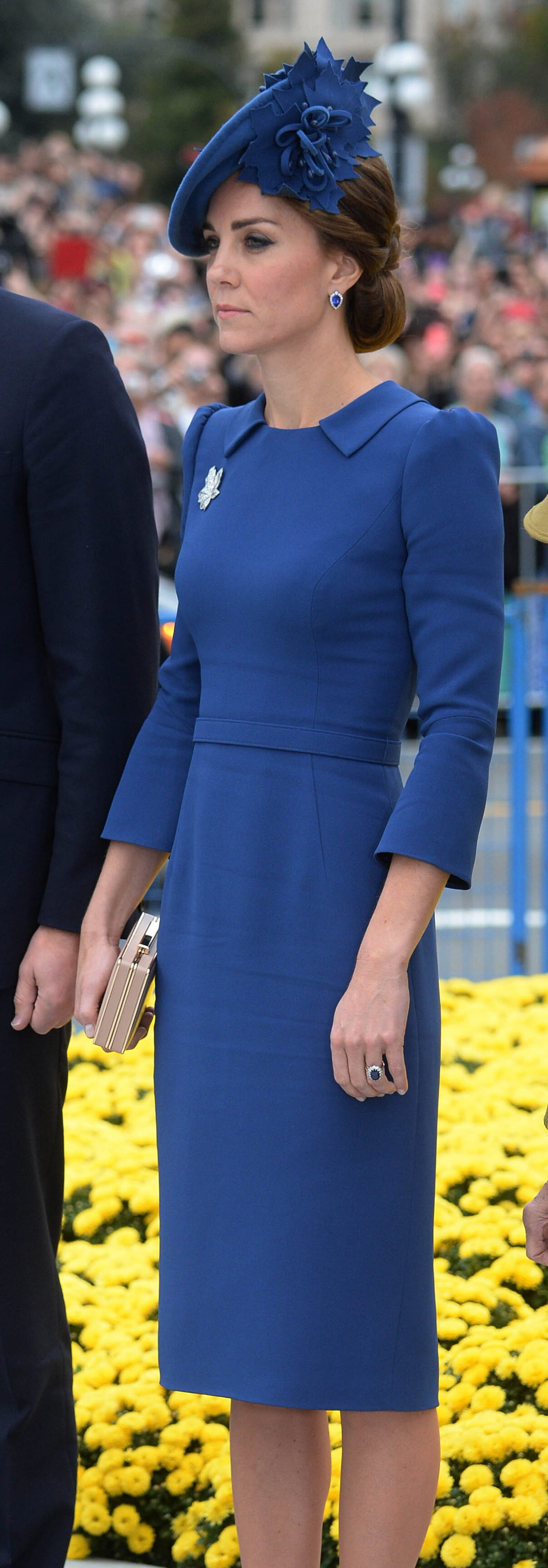UK OUT for 28 Days..Image ©Licensed to i-Images Picture Agency. 24/09/2016. Victoria, Canada. Royal Tour Of Canada- Day one. Prince William, The Duke of Cambridge joined by his wife Catherine, The Duchess of Cambridge, at the Ceremony of the official arrival to Canada and British Columbia at the Cenotaph, Legislative Assembly of British Columbia, for the start of their 8 day tour of Canada.  Picture by  i-Images/ Rota