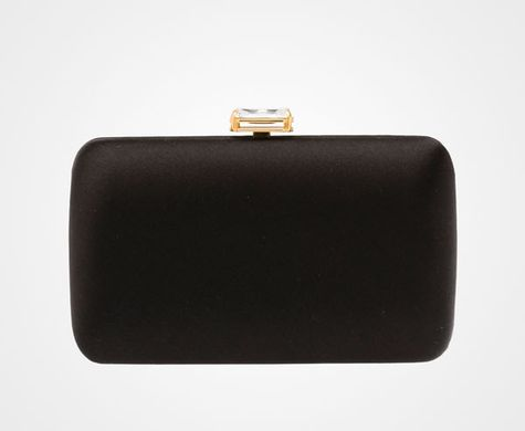 Prada black satin hard case clutch