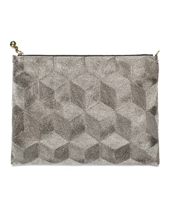 Anne Grand 'Clement' silver geometric pouch