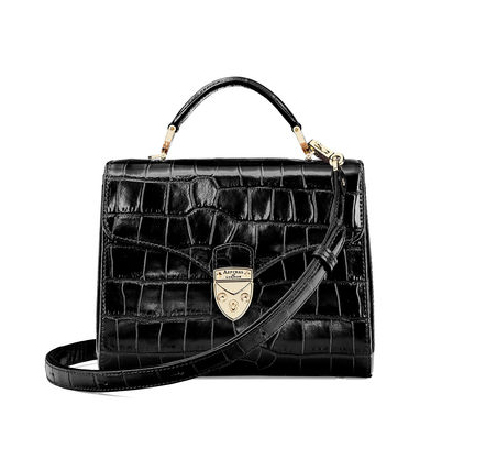 Aspinal black croc ;Midi Mayfair' bag