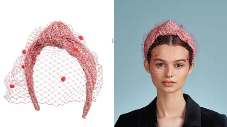 Fernanda Lewis veiled headband in pink tweed